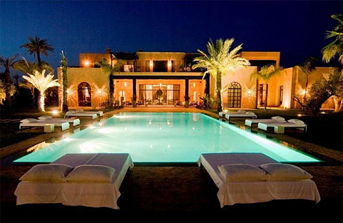 Luxury moroccan villa house design contemporary beautiful for Luxury home plans with pools