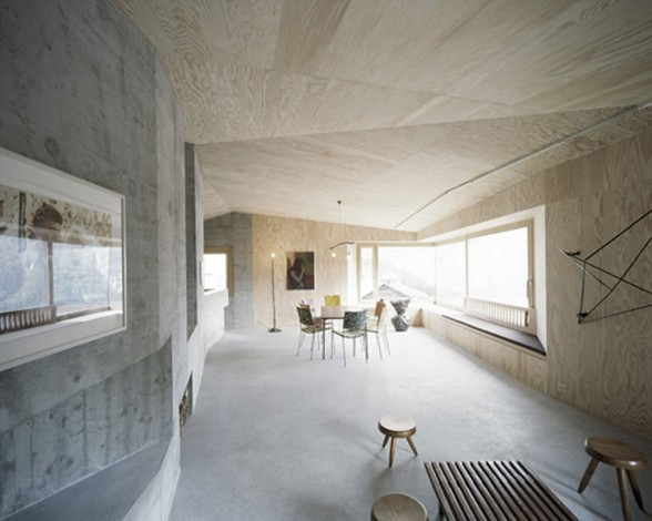 Solid concrete house architecture and minimalist interior for Minimalist house design wood